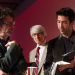 Joel Coen, Sam Waterston and David Schwimmer at the 2014 Writers Guild Initiative Benefit Gala at Espace, New York City. Photo by Brian Palmer.